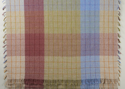 "SCC Merit Award: Judy Haraldson (Saskatoon) ""Prairie Plaid"", 2015; Wool; handwoven, folded doubleweave technique, wet finish to full yarns; 202 x 126; Value: $350.00; For Sale"