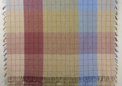 "SCC Merit Award: Judy Haraldson (Saskatoon) ""Prairie Plaid"", 2015; Wool; handwoven, folded doubleweave technique, wet finish to full yarns; 202 x 126; Value: $350.00; For Sale"