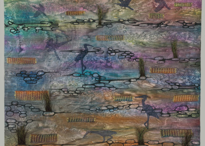 """Award for Excellence in Quilting: Anna Hergert (Moose Jaw) """"Prairie Springtime Ritual: The Return of the Blue Heron"""", 2015; Silk, acrylic textile paint, peacock feathers, polyester sheers, hand-dyed thread; fabric painting, applique, machine quilting, hand and machine embellishment; 112 x 128 x 3; Value: $2200.00; For Sale"""