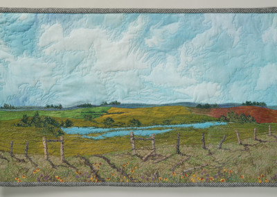 "Cindy Hoppe (Biggar) ""Summer Stroll"", 2015: Recycled wool and silk, thread, Conte crayon; machine embroidery,machine quilting, dying; 40 x 68 x 1; Value: $700.00; For Sale"