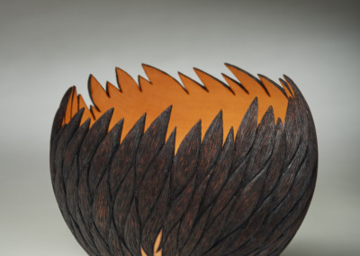 "Award for Excellence in Wood: Michael Hosaluk (Saskatoon) ""Inferno"", 2015; Yellow Cedar; turned, carved, burnt; 17.5 x 21 x 21; Value: $2500.00 ; Not For Sale"