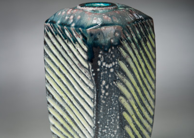 "Mel Bolen (Humboldt) ""Aurora Canola Bloom"", 2014; Pore clay, terra sigillata, stains, glaze; wheel thrown, paddled, carved, salt fired; 20.5 x 12 x 12; Value: $750.00; For Sale"