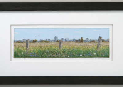 "Monika Kinner-Whalen (Saskatoon) ""Prairie City"", 2014; Cloth, thread, silk ribbon; free motion machine work and freestyle hand embroidery; 30.5 x 56 x 2 (framed) 11 x 35.5 (unframed); Value: $1,300.00; Not For Sale"