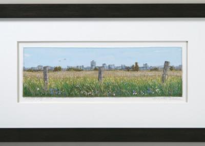"Monika Kinner-Whalen (Saskatoon) ""Prairie City"", 2014; Cloth, thread, silk ribbon; free motion machine work and freestyle hand embroidery; 30.5 x 56 x 2 (framed) 11 x 35.5 (unframed); Value: $1,300.00; Not For Sale"