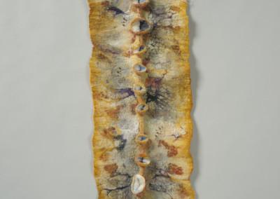 "Cindy Obuck (Regina) ""Natura Spina"", 2015; Natural dyed silk, Merino wool, silk fibres, goat locks, beads; Nuno wet felting, Shibori technique; 82 x 24 x 2.5; Value: $345.00; Sold."