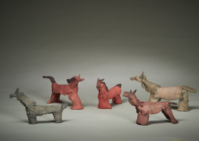 "Leslie Potter (Saskatoon) ""The Herd"", 2014; Clay, Acrylic paint; handformed with slab roller, cone six firing, painting; 11.5x21x4.5; 11x23x5.5; 10x16x3; 10x18x5; 10x16x4.5; Value: $1,375.00; For Sale"