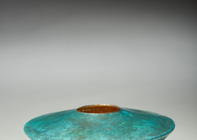 "Daryl Richardson (Saskatoon) ""Nest"", 2015; Copper patina, gold leaf; copper raising from 9 inch diameter 0.020 inch thick disk; 6 x 15 x 15; Value: $600.00; For Sale"