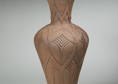 "Gail Carlson (Prince Albert) ""Carved Pot"", 2014; Clay; wheel thrown 87 x 36 x 36; Value: $2500.00; For Sale"
