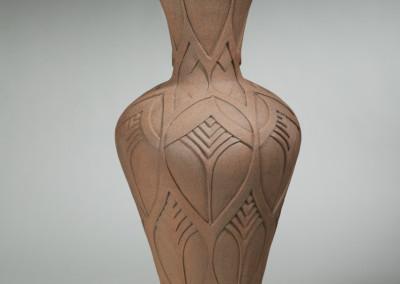 "Gail Carlson (Prince Albert) ""Carved Pot"", 2014; Clay; wheel thrown 87 x 36 x 36; Value: $2500.00; For Sale"