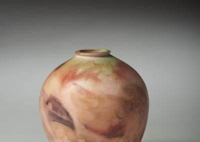 "Lorraine Sutter (Saskatoon) ""Dusk"", 2014; Porcelain, paper, wax; wheel thrown, bisqued, colour torched onto surface; 11x10x10; Value: $75.00; Sold."