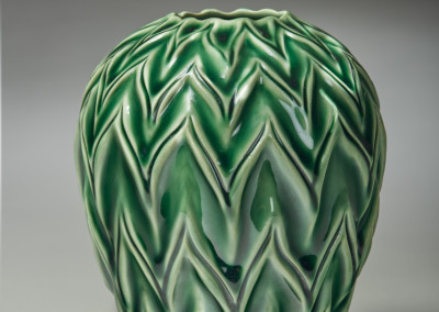 "Award for Excellence in Functional & Production Ware: Deb Vereschagin (Meadow Lake) ""Chevron"", 2015; Clay, glaze; wheel thrown, hand carved, glazed; 17 x 13 x 13; Value: $550.00; For Sale"