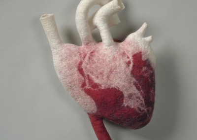 "Sandy Compton (Regina) ""Heart Study #1"", 2015; Merino wool, silk, bird's eye Maple, acrylic medium; wet hollow form felting; 37 x 23 x 10; Value: $350.00; For Sale"