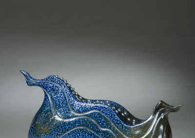 "Paula Cooley (Saskatoon) ""Glint"", 2015; Stoneware, slip, found metal, epoxy; handbuilt, salt fired to cone 10; 22 x 37 x 13; Value: $850.00; For Sale"