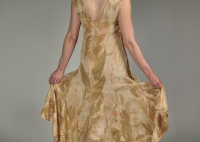 "Lindsay Embree (Saskatoon) ""Untitled Dress"", 2015; Silk/wool blend, eucalyptus leaves (dyed in New Zealand); sewing, eco-colour dye method using eucalyptus leaves; Women's size Medium; 141 x 46 x 1; Value: $1,000.00; Not For Sale"