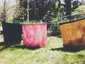 Naturally Dyed Fabrics Drying