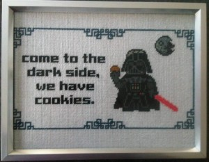 Star Wars themed cross stitching. Source.
