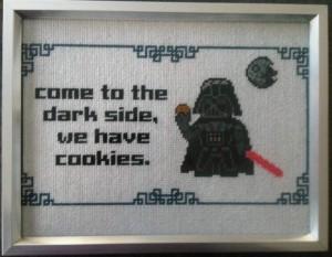Star Wars themed cross stitching. Source.