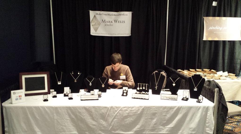 Newly juried artist Mark Wells at WinterGreen Fine Craft Market 2015.
