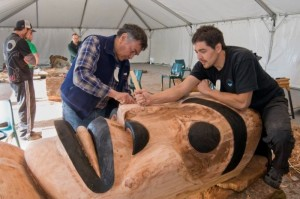 Artists Dempsey Bob and David Nunn work together at EMMA Collaboration 2014 (source)