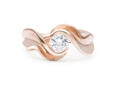 Resound (Mary Lynn Podiluk), 2016: 14k rose gold, genuine .71 carat white sapphire; cast, polished, set. $2,800.