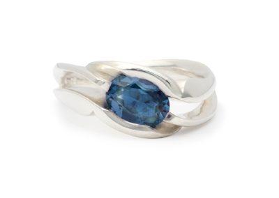 Unison (Mary Lynn Podiluk), 2016: Sterling silver, London blue topaz; cast, polished, set. $660.