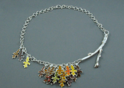 Falling Leaves (Joan Thomson), 2016: 925 sterling silver. 18K gold. $1,720.