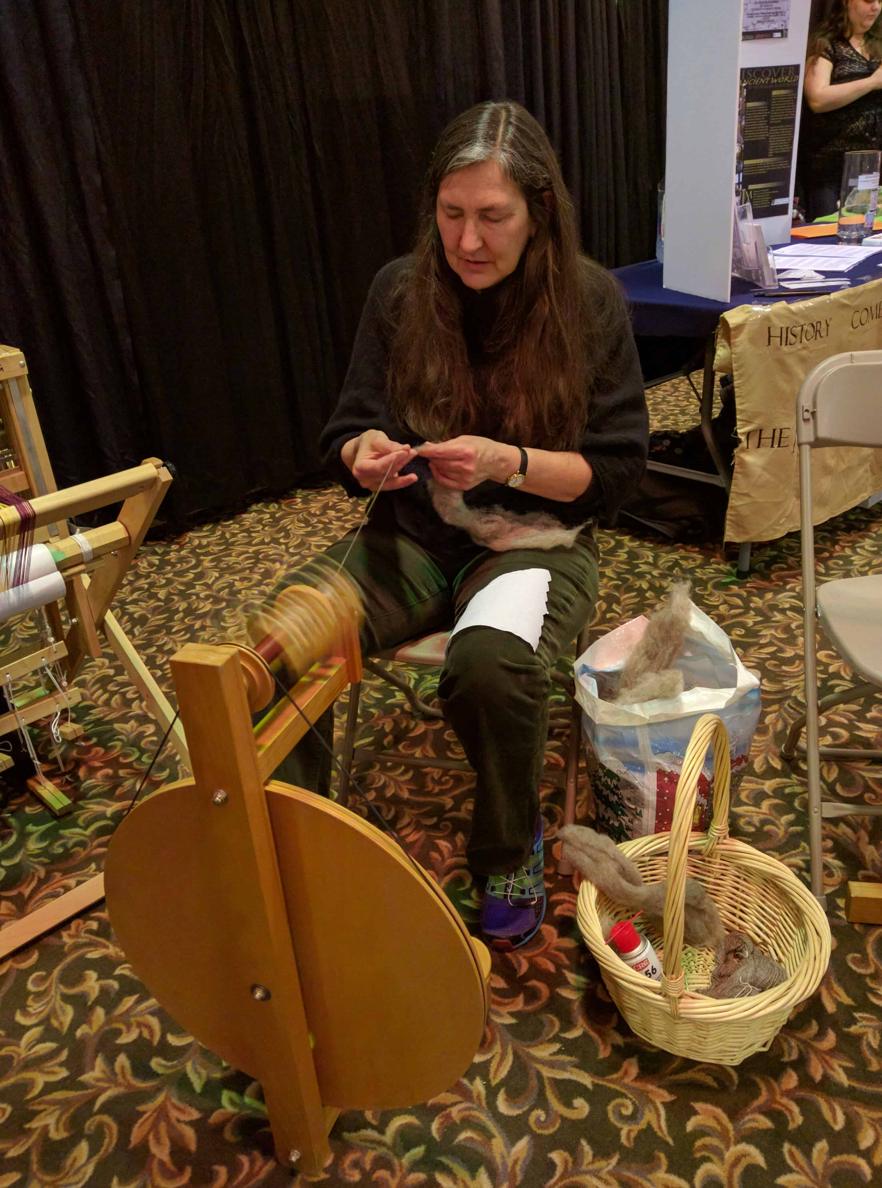 Members of the Saskatoon Spinners and Weavers Guild giving demonstrations to the public at the Saskatoon Heritage festival on February 5th.