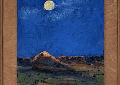 """Grasslands Moon, Oil on Canvas mounted on stained wood panel 10.25x8.25x.75"""""""