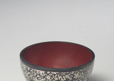 Rice Bowl (Michael Hosaluk), 2017: Maple, sushi rice, acrylic gel, molding paste, gesso, milk paint, wax, Super glue; woodturned, surface design, finishing. $350