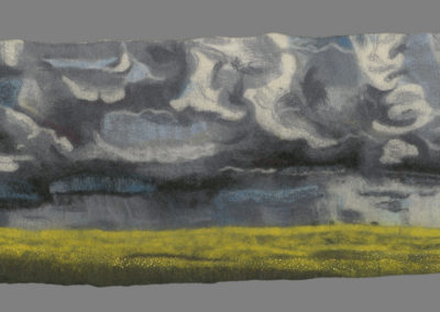 Prairie Storm (Mo Junk), 2016: Merino wool roving (hand and commercially dyed), assorted thread; wet felting, hand embroidery. $900