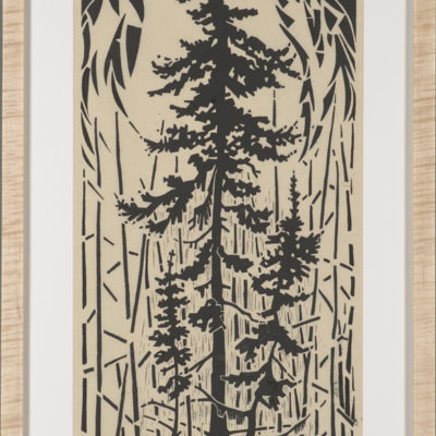 Raven Tree (Paul Lapointe), 2017: Cherry wood block, water based ink, Korean paper, figured maple, walnut wood; carving wood block, printing using hand barren, woodworking. $1200