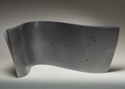 Ronchamp w a l l (Sandra Ledingham), 2016: Earthenware clay, underglaze, acrylic; hollow slab construction, sprayed surfaces. $1600