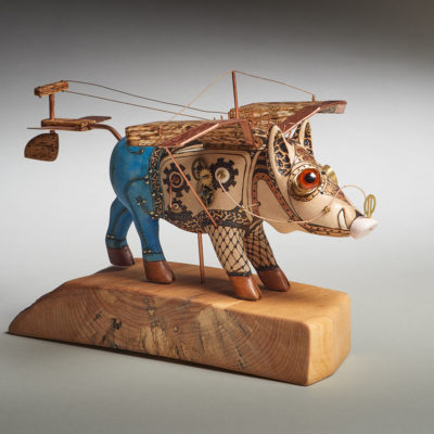 """""""When Pigs Fly"""" Jim Mason. 2016. Basswood, copper, brass, clock parts, guitar strings, acrylic paint; wood carving, pyrography, painting, metal parts fabrication. $1,200."""