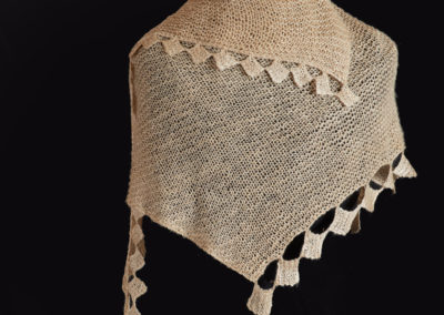 Tussah Shawl (Cathryn Miller), 2017: Tussah silk; knitting design, hand spinning, hand knitting, wet blocking, steam blocking. $1800