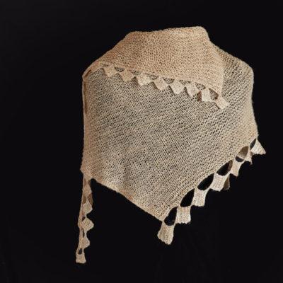 """Tussah Shawl"" Cathryn Miller. 2017. Tussah silk; knitting design, hand spinning, hand knitting, wet blocking, steam blocking. $1,800."