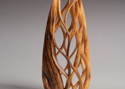 Engulfing (Darcy Rusk), 2017: Birch wood, oil, beeswax; woodturned, carved. $1800