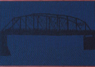 Jane Turnbull Evans Award for Innovation in Craft: Phases of Victoria Bridge (JoAnne Sauder), 2017: Merino wool, acrylic, purpleheart wood frame; hand knitting, illusion-knit design. $1980