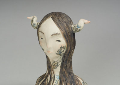 Better Left Alone (Maia Stark), 2017: Stoneware, underglazes; hollow form construction,  handbuilt, wax etched. $325 Sold