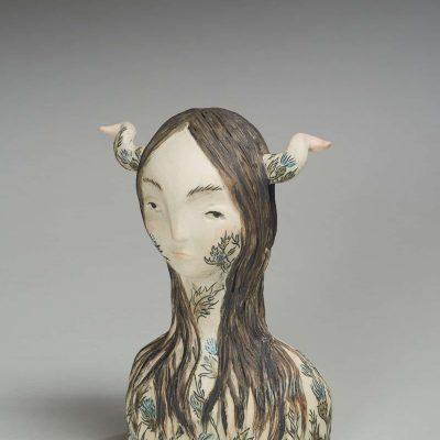 """Better Left Alone"" Maia Stark. 2017. Stoneware, underglaze; hollow form construction, hand-building, wax etching. $325."
