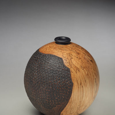 """""""Globe"""" Trent Watts. 2017. Spalted Alder, dyed Maple; hollow turning, pyrography. $375."""