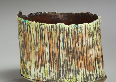 Standing Still (Roxanne Enns), 2016: Clay, underglaze, glaze, oxides, slip; handbuilt, slab construction, carved. Not for sale.