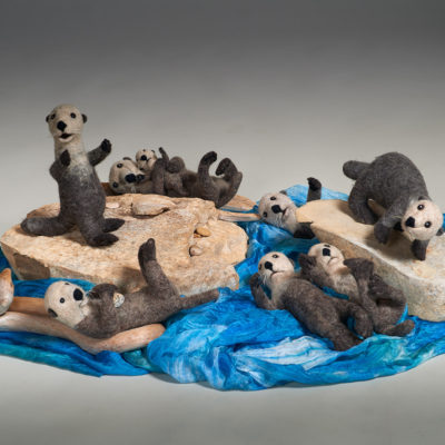 Playful (Heike Fink), 2017: Wool, sisal, silk, rocks, driftwood, seashells; needle felting, wet felting. $1800