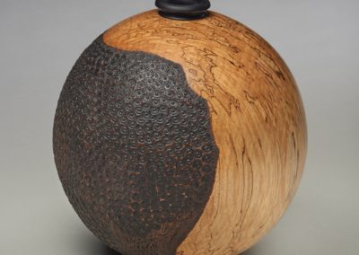 "Award for Excellence in Wood ($300): ""Globe"" Trent Watts, Saskatoon. Award sponsored by: Saskatchewan Woodworkers' Guild."