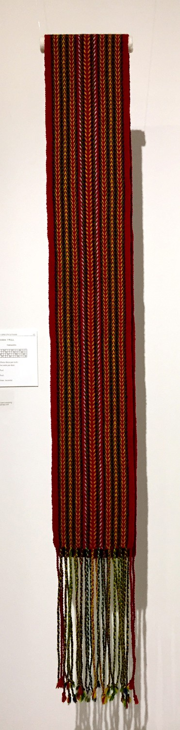 Sash (Pat Adams), 2017: 100% wool; hand dying yarn and hand weaving on a floor loom using basic four-harness twill twill threading. NFS