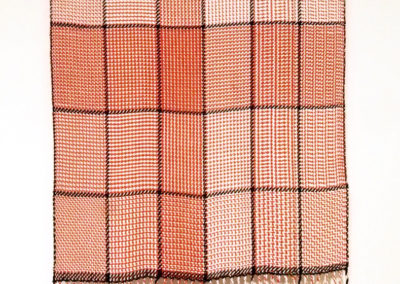 Bambu Gamp (Lynn McEachern), 2017: Bambu 7 gauge yarn colours of soft white  and paprika; various Twill weave structures laid out in a grid pattern woven on 4 shaft floor loom. NFS