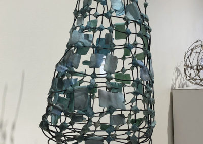 Blue Flags (Anita Rocamora), 2017: Clay, metal, under-glazes; hand-built, kiln fired, assembled. 81x46x40 cm. $1350.