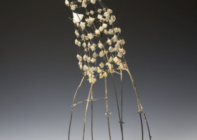 Snow Drops (Anita Rocamora), 2017: Clay, ceramic cement, metal, acrylic paint; hand-built, kiln fired, assembled. 75x24x28 cm. $850. Photograph by Paul Paquet.
