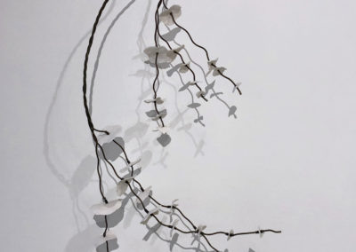 Twigs (Anita Rocamora), 2017: Clay, metal, found object; hand-built, kiln fired, assembled. 145x54x26 cm. $1200.
