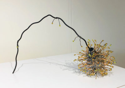Honey Dew (Anita Rocamora), 2017: Clay, metal, glass beads; hand-built, kiln fired, assembled. 29x51x19 cm. $950.