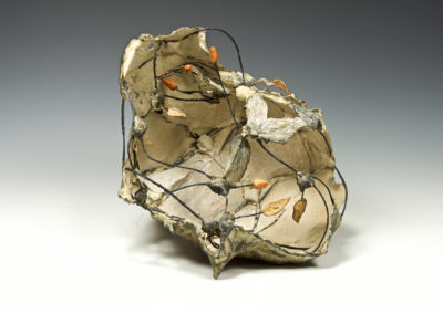 Pond Life (Anita Rocamora), 2017: Ceramic cement, clay, metal, under-glazes; hand-built, kiln fired, assembled. 25x36x30 cm. $750. Photograph by Paul Paquet.